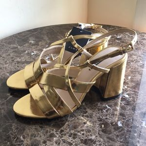 NWT Zara basic metalic gold  block heel sandal